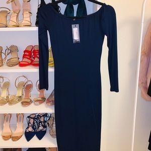 Midi navy blue dress